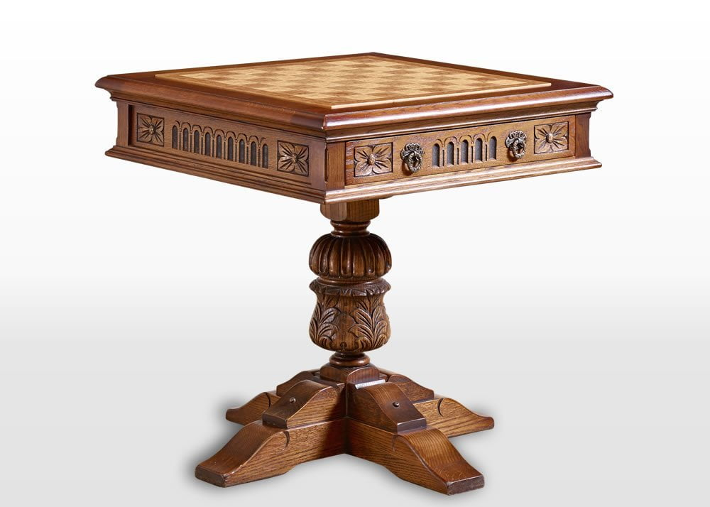 Old Charm Games Table in Light Oak Traditional Angled Image