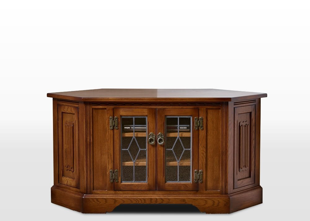 Old Charm Corner TV Cabinet in Light Oak Traditional Angled Image