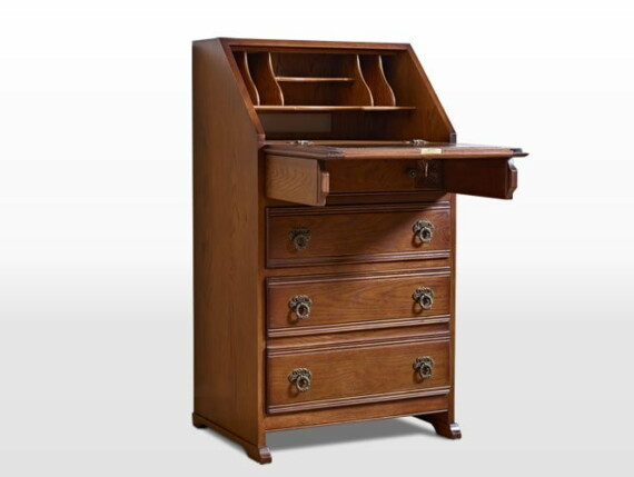 Old Charm Ladies Bureau in Light Oak Traditional Straight on Image