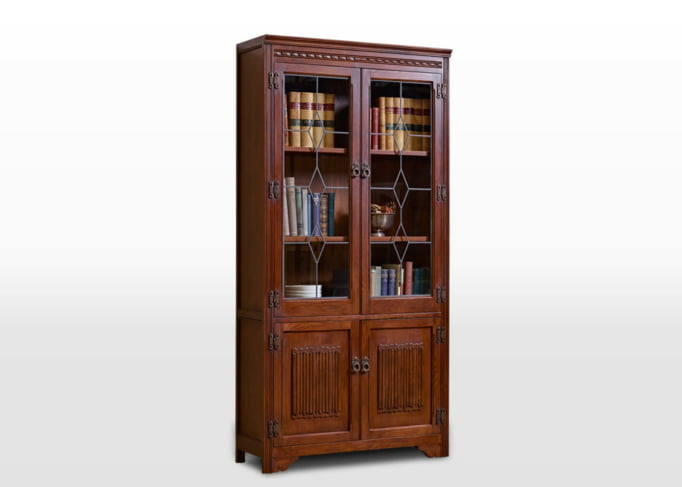 Old Charm Bookcase in Tudor Brown Traditional Angled Image