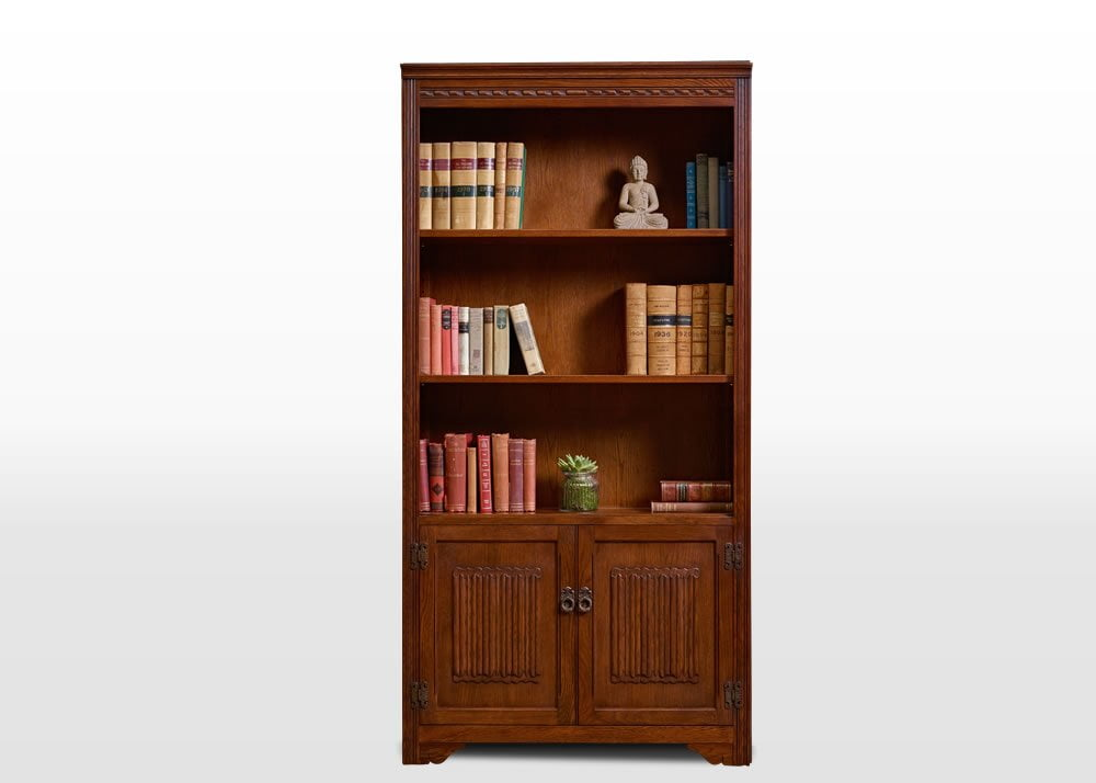 Old Charm Bookcase in Tudor Brown Traditional Straight on Image