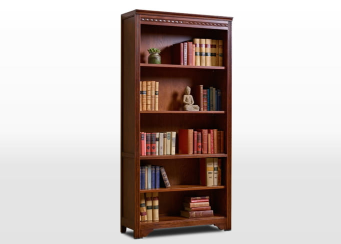 Old Charm Bookcase Open in Tudor Brown Traditional Angled Image