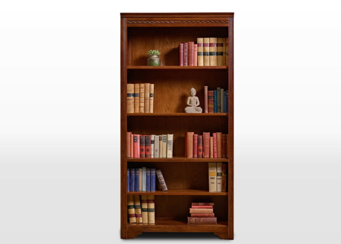 Old Charm Bookcase Open in Tudor Brown Traditional Straight on Image