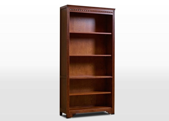 Old Charm Bookcase Open in Tudor Brown Traditional Image