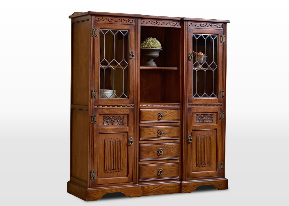 Old Charm Tall Recessed Sideboard in Light Oak Traditional Angled Image