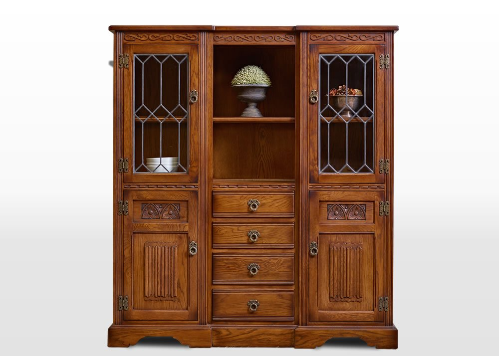 Old Charm Tall Recessed Sideboard in Light Oak Traditional Straight on Image