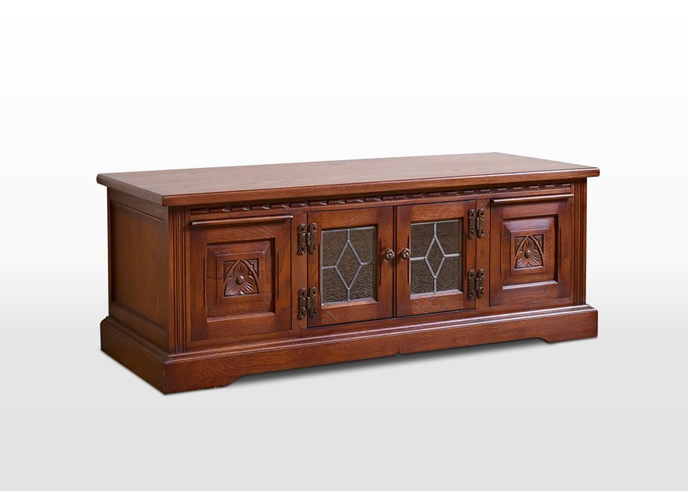 Old Charm TV Base in Chestnut Traditional Angled Image