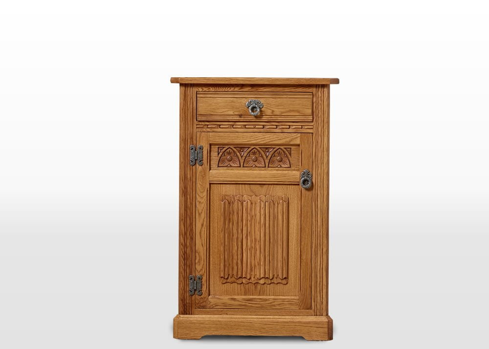 Old Charm Low Corner Cabinet in Vintage Traditional Angled Image