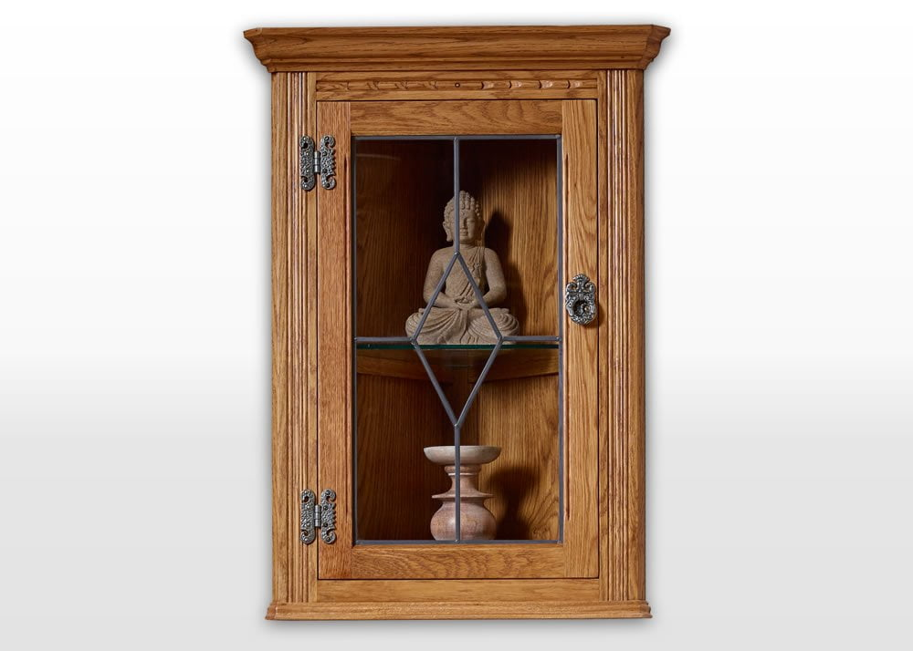 Old Charm Hanging Corner Cabinet in Vintage Traditional Straight on Image, old charm furniture promotion