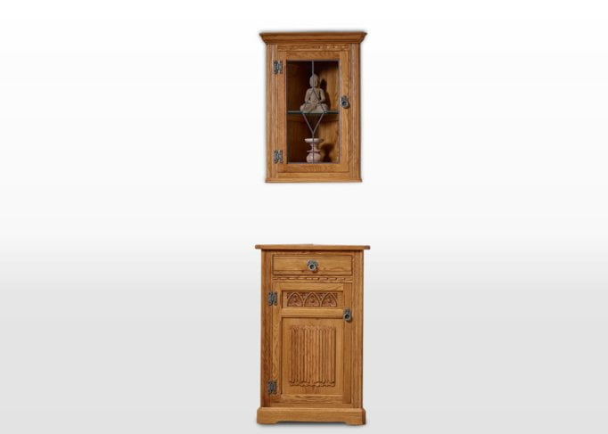 Old Charm Hanging Corner Cabinet in Vintage Traditional Image