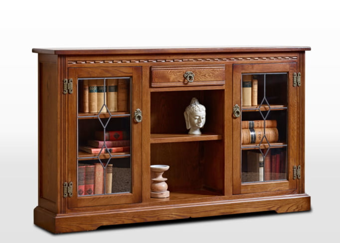 Old Charm Low Bookcase with Leadlight Doors in Light Oak Traditional Angled Image