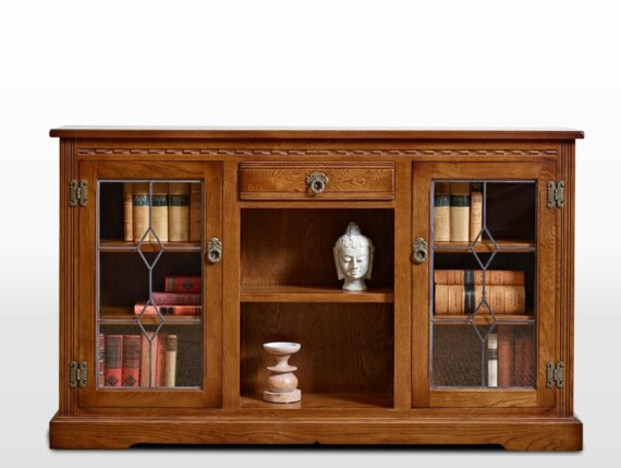 Old Charm Low Bookcase with Leadlight Doors in Light Oak Traditional Straight on Image