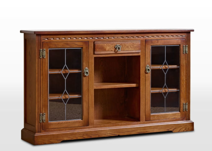 Old Charm Low Bookcase with Leadlight Doors in Light Oak Traditional Image