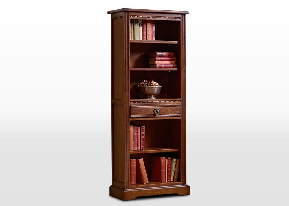 Old Charm Narrow Bookcase in Light Oak Traditional Angled Image