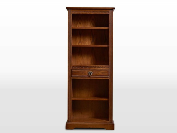 Old Charm Narrow Bookcase in Light Oak Traditional Straight on Image