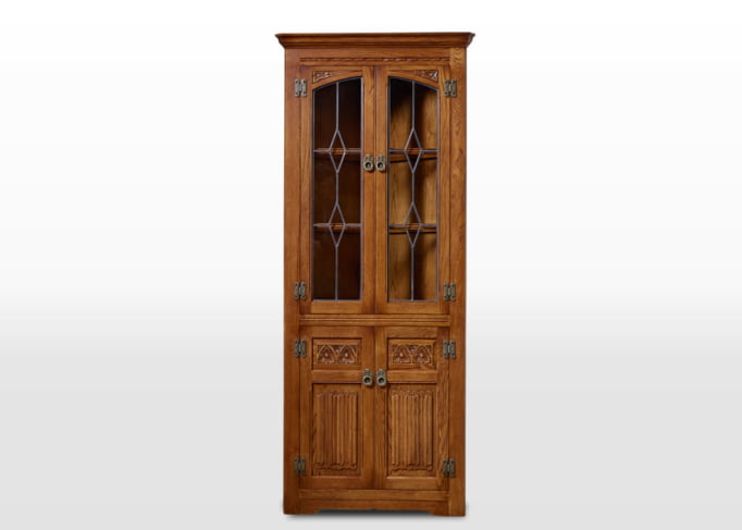 Old Charm Corner Cabinet in Light Oak Traditional Angled Image