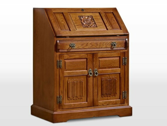Old Charm Rose Bureau in Light Oak Traditional Angled Image