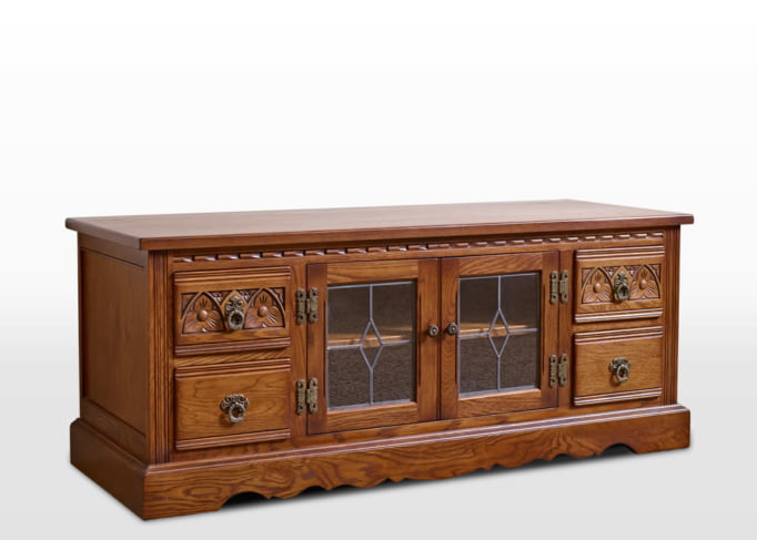 Old Charm TV Base in Light Oak Traditional Angled Image