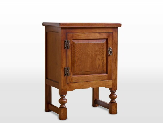 Old Charm Single Pedestal Cabinet in Light Oak Traditional Angled Image
