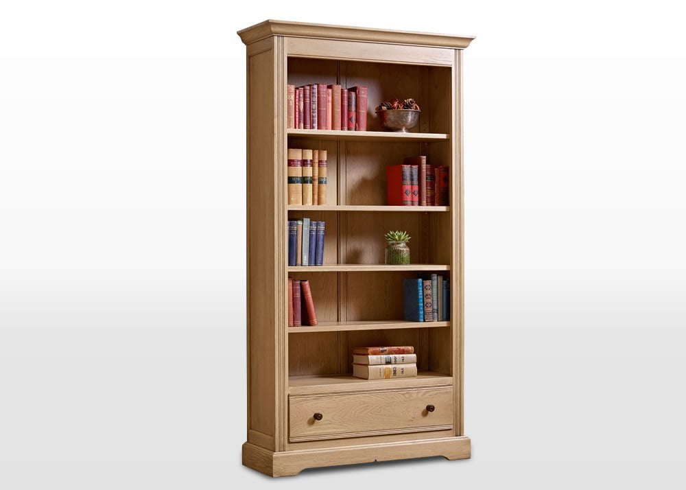 Old Charm Bookcase with Drawer in Fumed Oak Traditional Angled Image