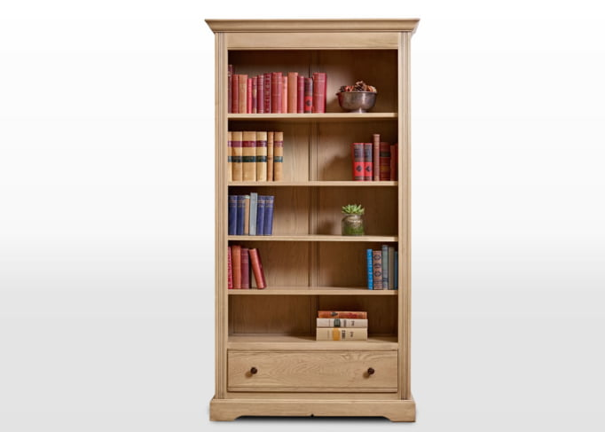 Old Charm Bookcase with Drawer in Fumed Oak Traditional Straight on Image