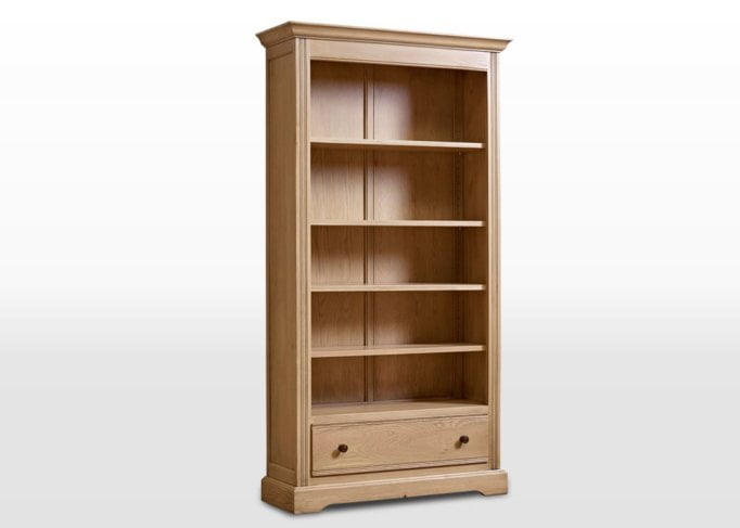 Old Charm Bookcase with Drawer in Fumed Oak Traditional Image