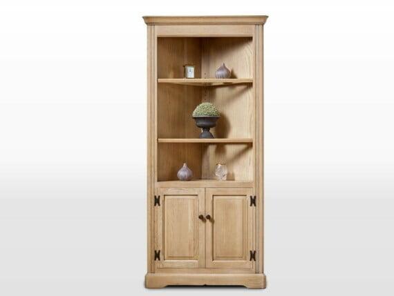 Old Charm Corner Cabinet in Fumed Oak Traditional Angled Image