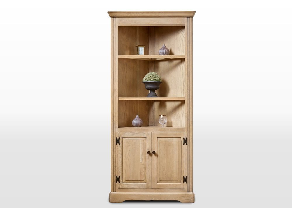 Old Charm Corner Cabinet in Fumed Oak Traditional Angled Image