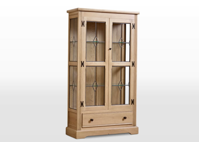 Old Charm Display Cabinet in Fumed Oak Traditional Angled Image