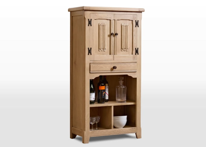 Old Charm Drinks Cabinet in Fumed Oak Traditional Angled Image