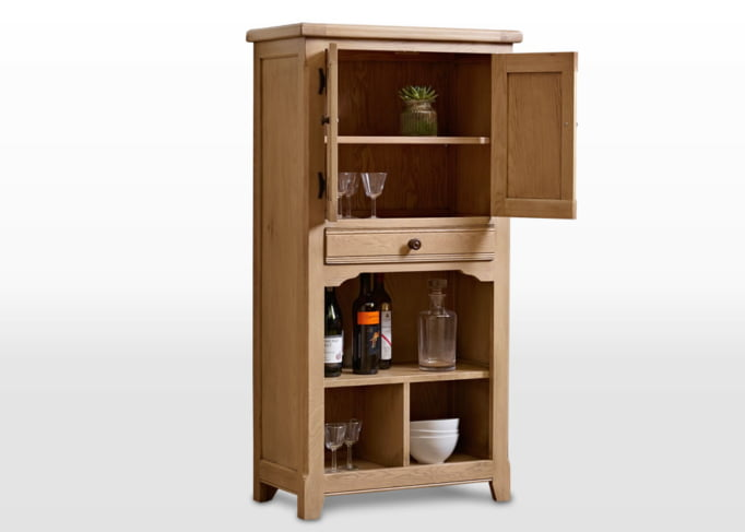 Old Charm Drinks Cabinet in Fumed Oak Traditional Straight on Image