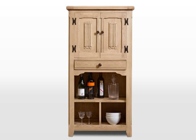 Old Charm Drinks Cabinet in Fumed Oak Traditional Image