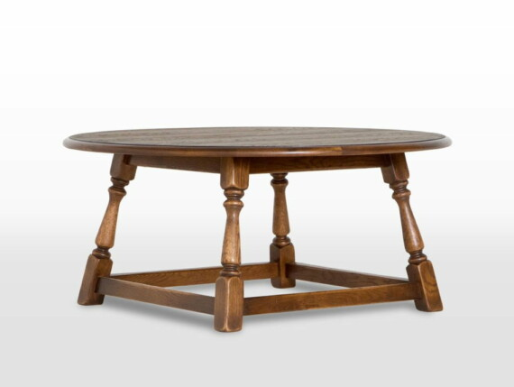 Old Charm Round Coffee Table in Light Oak head on image, occasional table promotion