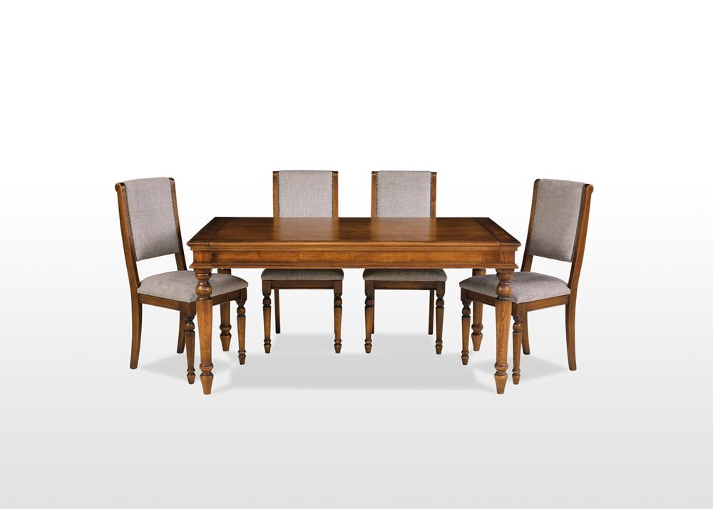 Old Charm Dining Table, Oak Dining Table, Light Oak Heritage Table, Large Extending Table Closed With Chairs