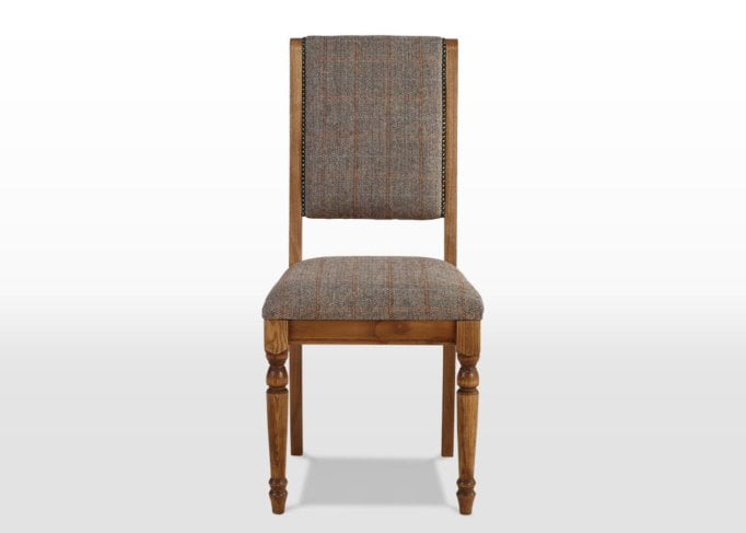 Rochford dining chair front on, harris tweed dining chair, tweed dining chair