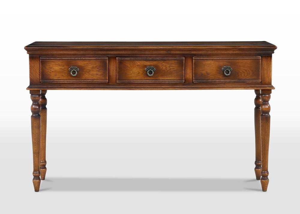 servery table, oak console table, oak hall table, spindle legged hall table