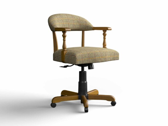 Designer Chair Gallery Captains Chair in Harris Tweed Dogtooth Bronze with Light Oak legs