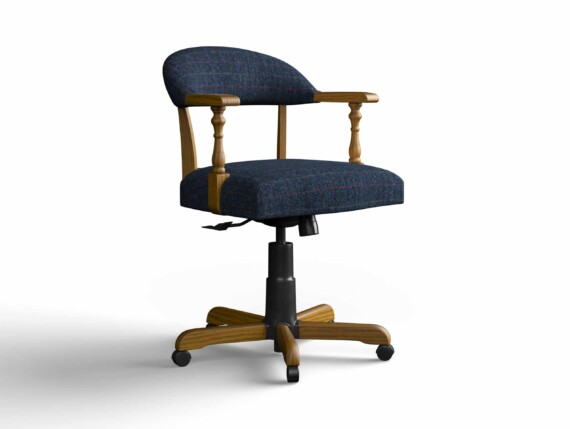 Designer Chair Gallery Captains Chair in Harris Tweed Herringbone Denim with Light Oak legs