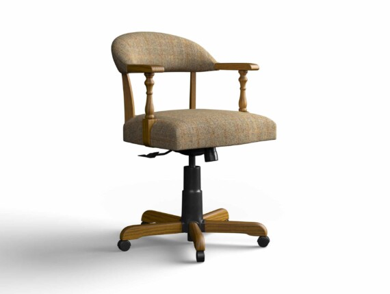 Designer Chair Gallery Captains Chair in Harris Tweed Herringbone Moss with Light Oak legs