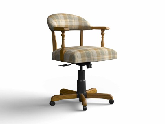 Designer Chair Gallery Captains Chair in Tartan Mustard with Light Oak legs