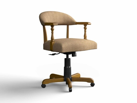 Designer Chair Gallery Captains Chair in Twill Camel with Light Oak legs