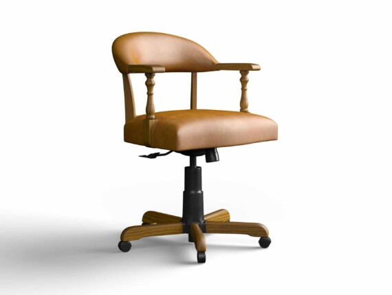 Designer Chair Gallery Captains Chair in Veneto Tan with Light Oak legs
