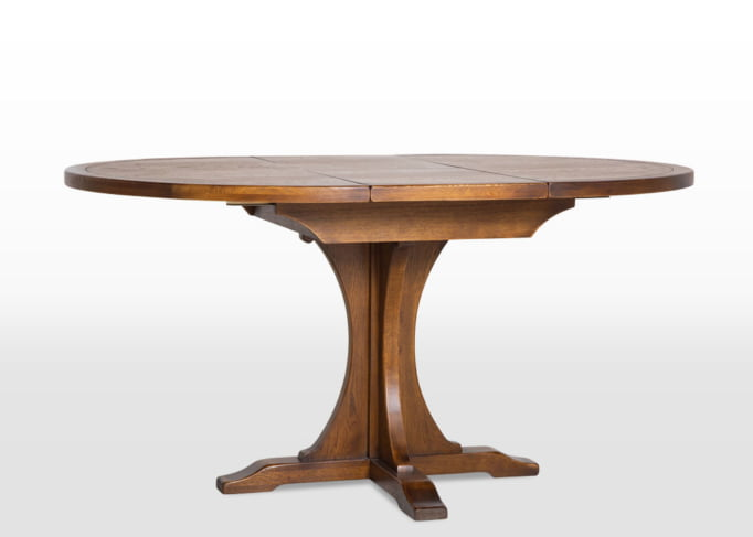 extended round dining table, oak table