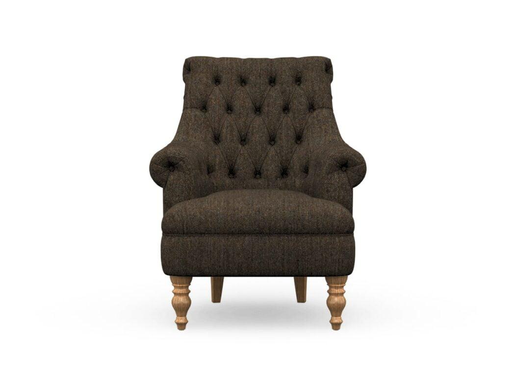 Harris Tweed Herringbone Charcoal, Pickering Armchair In Harris Tweed, Light Feet