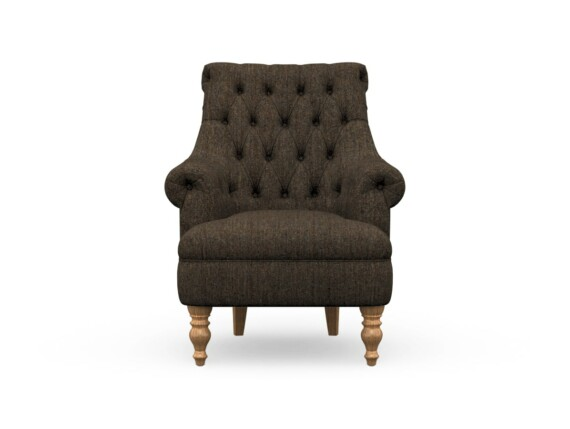 Harris Tweed Herringbone Charcoal, Pickering Armchair in Harris Tweed, Light Feet