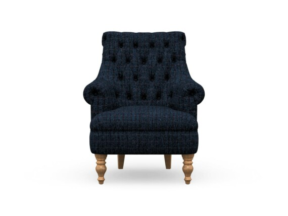 Harris Tweed Herringbone Denim, Pickering Armchair in Harris Tweed