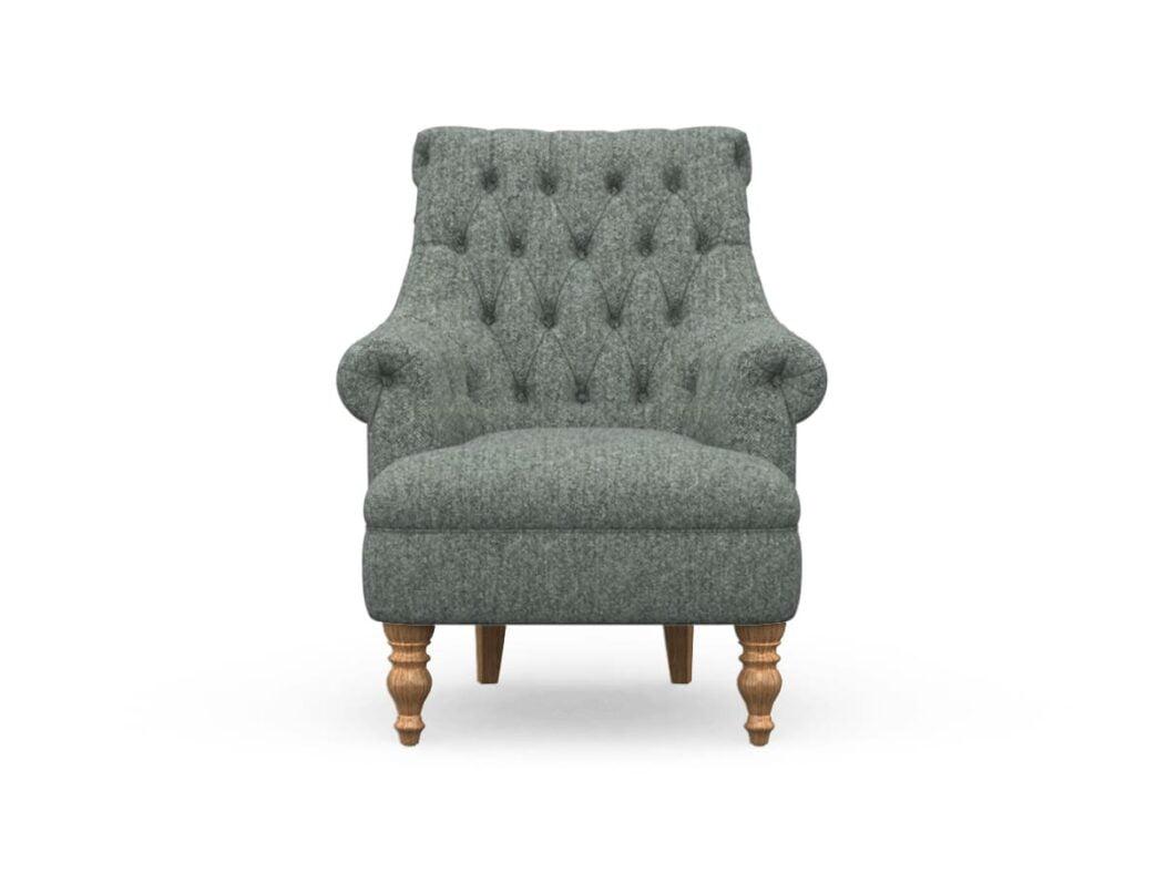 Harris Tweed Herringbone Slate, Pickering Armchair In Harris Tweed