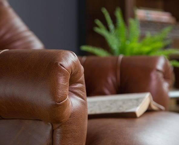 comfy armchair, reading chair, leather armchair
