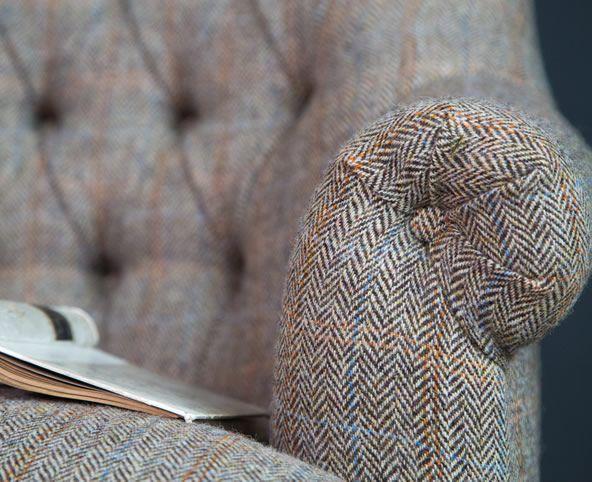 comfy armchair design, reading chair, harris tweed armchair