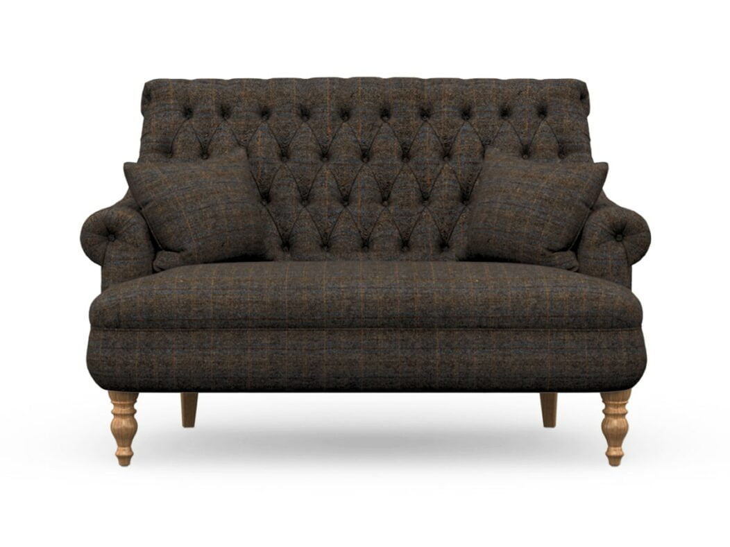 Harris Tweed Herringbone Charcoal, Pickering Compact Sofa In Harris Tweed